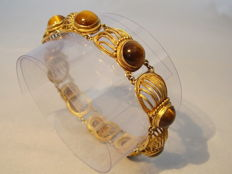 Handmade filigree bracelet with tiger's eye