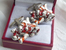 Pair of 925 silver design cufflinks with red enamel