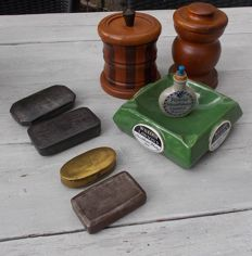 Wooden tobacco jars, porcelain ashtray, sniff tobacco bottle and tobacco boxes.