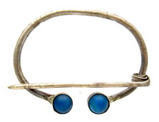 Viking Silver Alloy Omega Brooch with Blue Gems -70 mm