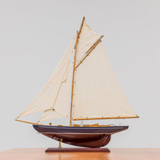 Unique wooden sailing ship.