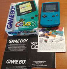 Teal Nintendo Gameboy Color boxed, Model CGB-001 - Good condition (with Smurf game)