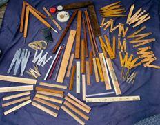 """Large lot of old measuring system """"59 parts"""" - rulers - compass - bracket - 1 ° part of 20th century"""