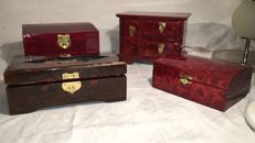 Lot of 4 Oriental ornate wooden jewellery boxes