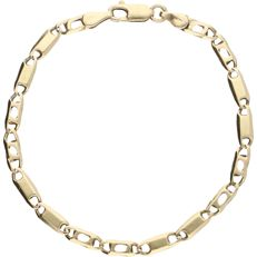 14 kt - yellow gold curb link bracelet with open and closed links - length: 19.2 cm