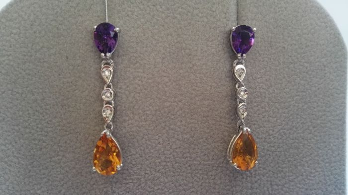 18 kt white gold earrings with diamonds of 0.05 ct, citrines and amethysts