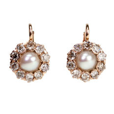 Diamond, orient Pearl, Red Gold Earrings