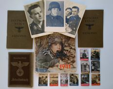 German Reich 1936-1945 lot: 10 x WHW/KHW leaders fight book folders 2 x passport 1x workbook 3 x photos 1 x Wehrmacht calendar 1941 publishing the Wehrmacht K.G.. Berlin