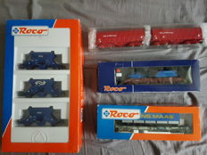 Roco H0 - 44037/46360/66691/67729 - NS Fccpps gravel cars (set of 3)/NS Trailstar Frans Maas/NS Stake car with tracked vehicle and van of the marechaussee/ 2x NS Cargo steel wagon. Shimmn