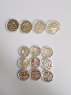 "Europe - 10 Euro coins 2002/2004 ""Commemorative coins"" (13 different) - silver."
