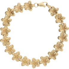 14 kt yellow gold bracelet with links in the shape of a dceorated flower - length: 19.5 cm
