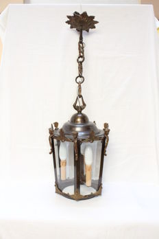 Vintage Bronze hall lantern with six crystal glass - ca.1900