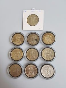 The Netherlands – 1 guilder 1840/1943D, Willem I and Wilhelmina (10 different coins) – silver