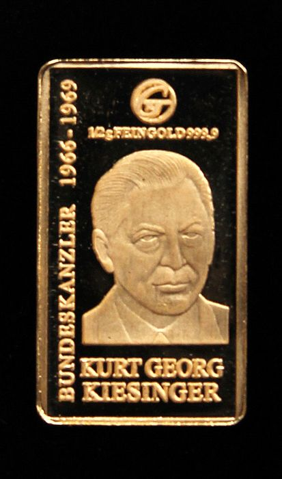 "Germany - gold bar - Federal Chancellor ""Kurt Georg Kiesinger"" - gold"