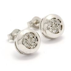 14k White Gold Stud Earrings Set with 0.16 ct Diamonds - 8mm - no reserve