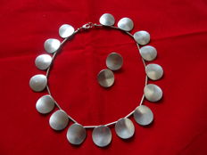 Jorgen Jensen Denmark necklace and clip-on earrings, signed.