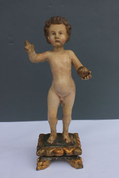 Polychrome wood sculpture depicting the Blessed Child - Northern Italy - second half of 18th century
