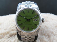 """1967 ROLEX DATEJUST 1601 SS WITH GLOSSY """"STELLA"""" GREEN DIAL"""