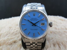 """1968 ROLEX DATEJUST 1601 SS WITH GLOSSY """"STELLA"""" SKY BLUE DIAL"""