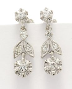 14k White Gold Earrings  0.33 ct Diamonds -  no reserve price