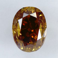 Diamant - 0.54 ct, Si1 - Oval, Natural Fancy Dark Yellowish Orange