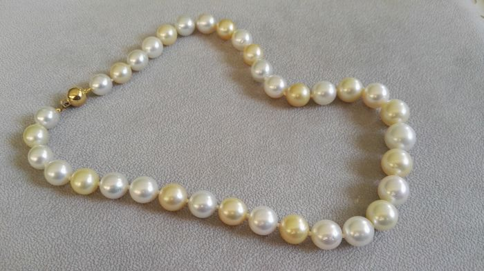 Australian pearl necklace 11-13mm and yellow gold brooch.