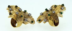 18K yellow gold ladies earrings with diamonds (0.25 ct total) and emerald (0.18 ct total)
