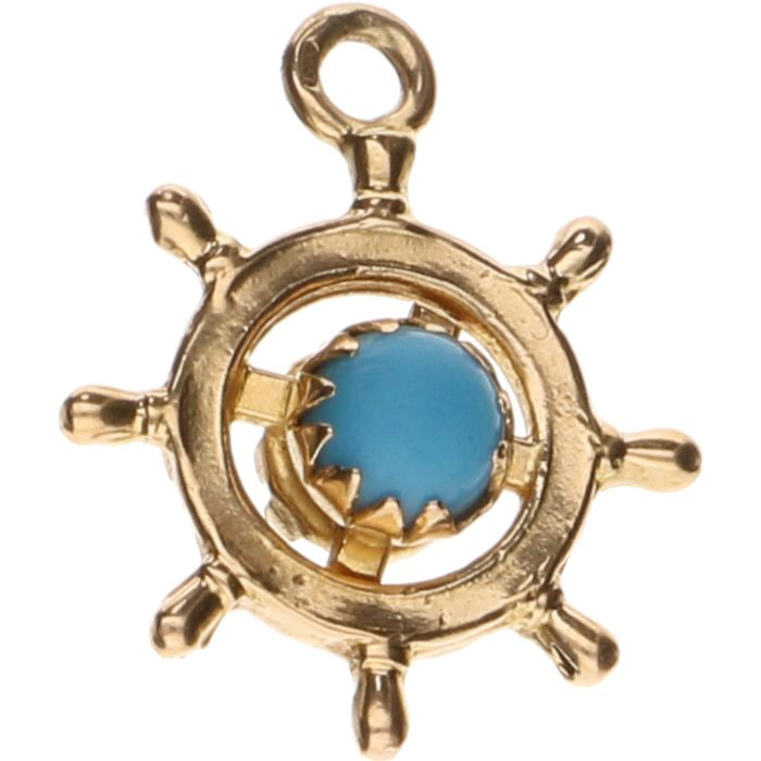 14 kt Yellow gold pendant in the shape of a rudder wheel set with decorative stones - Length: 2 cm