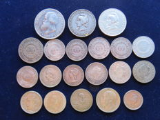 Lot of 20 different silver coins from Brazil, since 1853