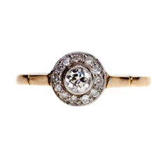 Diamond, Red Gold platinum ring ~1935