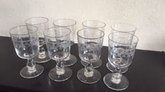 A set of 8 wine glasses with etched decoration on beautiful stem, France circa 1880-1900