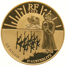 France – 10 Euro coin 2005, Victory of Austerlitz – battle scene, in capsule, gold