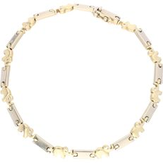14 kt – Bicolour link bracelet equipped with white gold links and links in the shape of elephants – Length: 22 mm