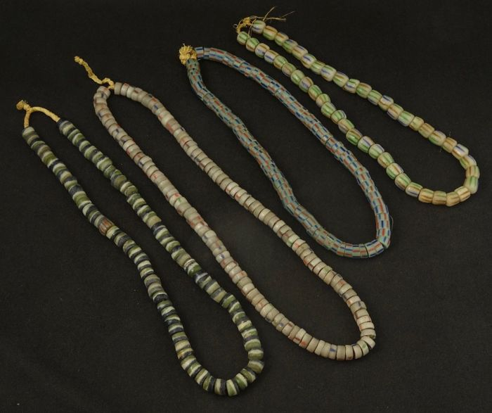 4 old Krobo Powderglass beads