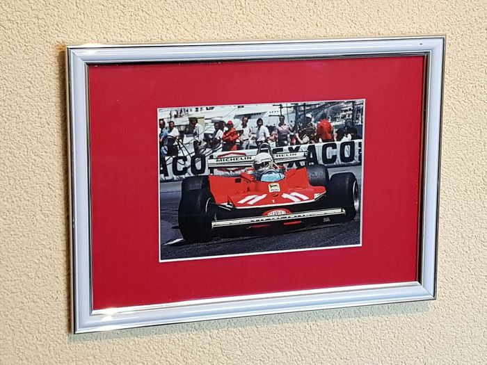 Jody Scheckter - Ferrari world champion Formula 1 - original autographed framed photo Monaco F1 + COA.