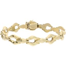 14 kt - Vintage yellow gold link bracelet with a bolt clasp and with a figure-eight safety catch - Length:  19.1 cm