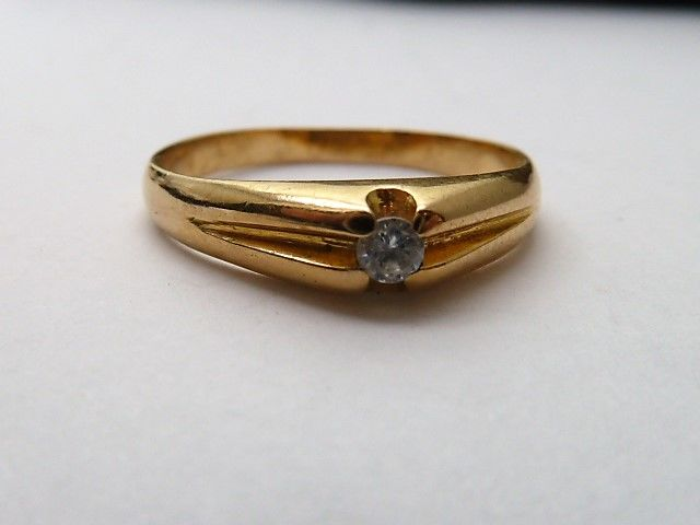 Gold 18 kt solitaire with zirconia - 16.2 mm