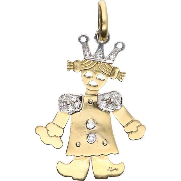 18 kt – Yellow gold marionette pendant in the shape of a girl, with white gold details and set with 10 brilliant cut diamonds of approx. 0.17 ct in total – Length x Width: 43 mm x 25 mm