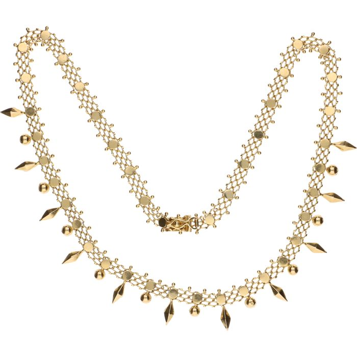 14 kt Yellow gold fantasy link necklace – Length: