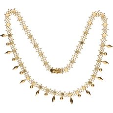 14 kt Yellow gold fantasy link necklace – Length: 44 cm.