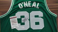 original SHAQUILLE O'NEAL signed Boston Celtics home jersey + JSA certificate