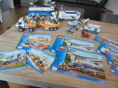City - 4439 + 7288 + 7726 + 60043 + 4437 + 7741 - Heavy-Duty Helicopter + Mobile Police Unit + Coast Guard Truck with Speed Boat en meer..