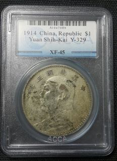 China - Dollar (Yuan) Year 3 (1914) 'Yuan Shih Kai' - Silver