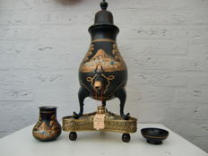 Hand-painted pewter coffee urn on copper base