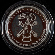 "Australia - 15 dollars 2010 ""Platypus"" with a coloured background - 1/10 oz platinum"