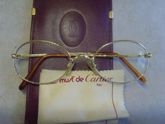CARTIER – Eyeglass Frames – Gold, gold plated – Elegant details – With original leather case and cleaning cloth.