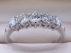Certified gold diamond alliance ring with 0.75 ct - **No reserve price**