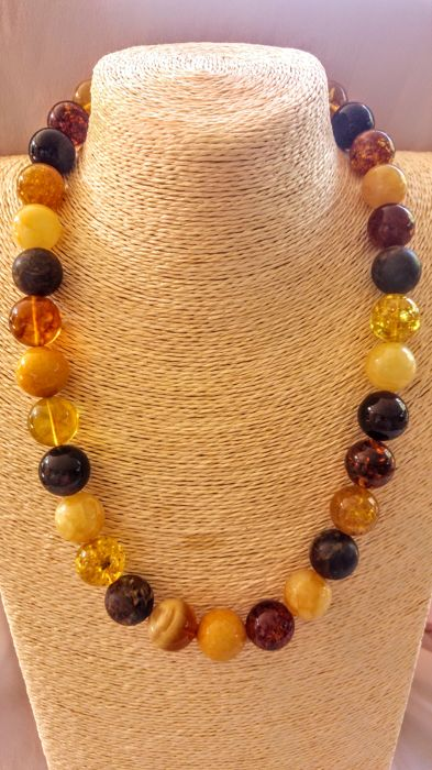 Round beads Mix colours  Baltic Amber necklace, length ca. 58 cm
