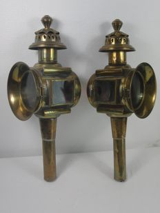 Two brass coach (carriage) lamps - 1st half of the 20th century