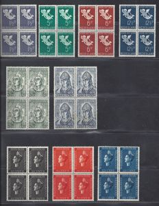 The Netherlands 1936/1939 – Child, Queen's jubilee and Willibrordus in blocks of four